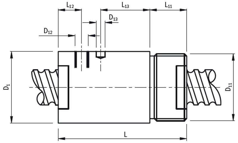 ZG Zylindermutter mit Außengewinde – Technische Zeichnung