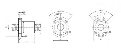 Zeichnung des LLE-Kugelgewindetriebs